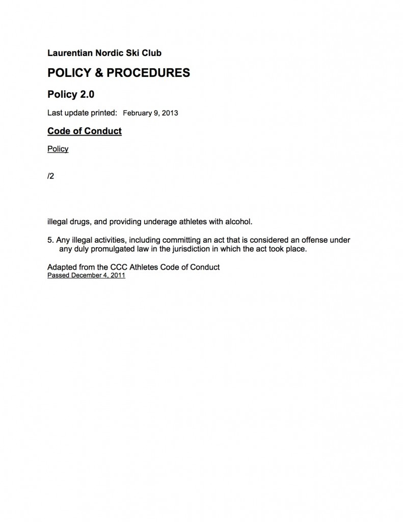 02.0 B Policy Code of Conduct Proposed 2011 TEMP