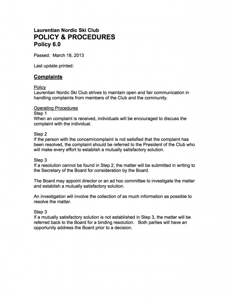06.0 Policy Complaints