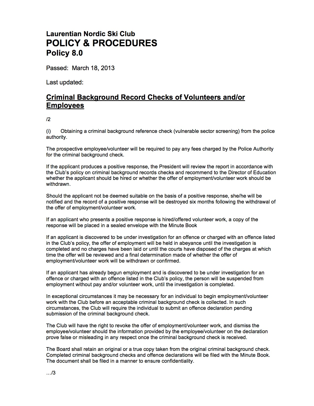 08 0 B Policy Criminal Background Record Checks | Laurentian