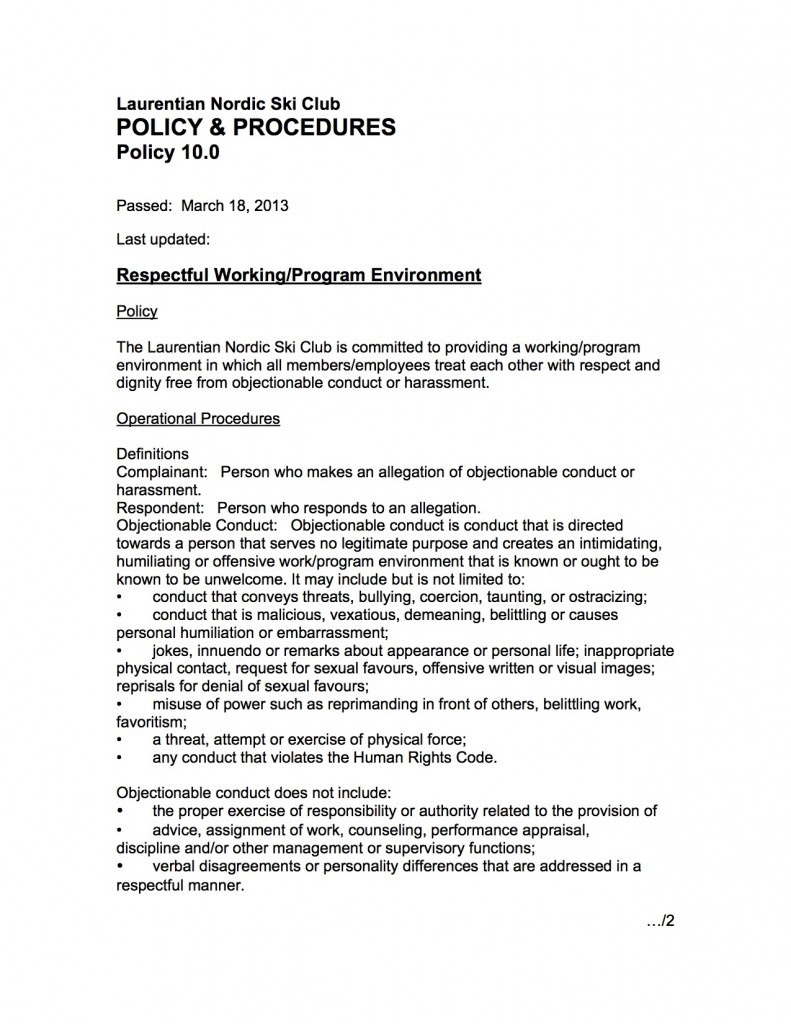 10.0 A Policy Harrassment