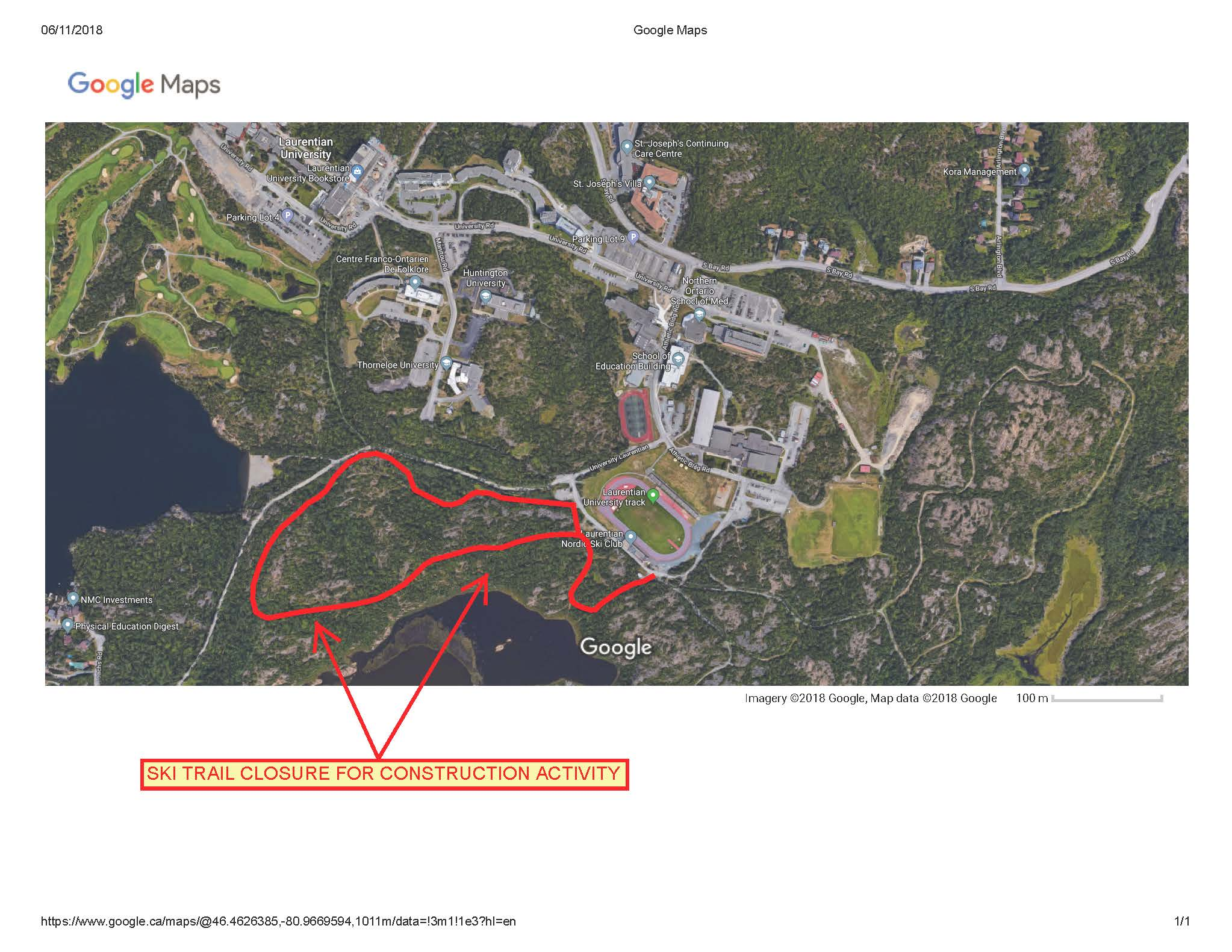 Ski trail closure map
